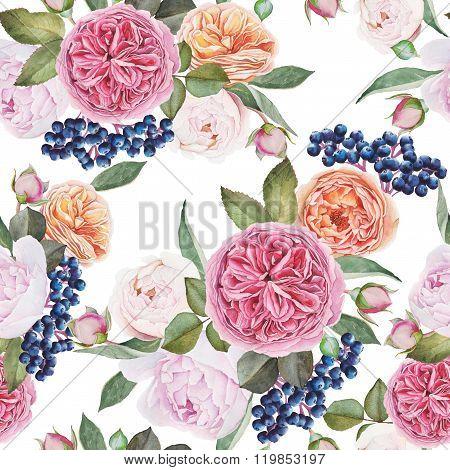 Floral seamless pattern with watercolor roses, peonies, black rowan berries.