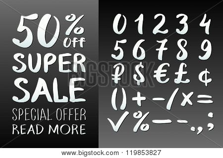 Numbers 0-9 Written With A Brush On A Black Background Lettering. Super Sale. Big Sale. Sale Tag. Sa