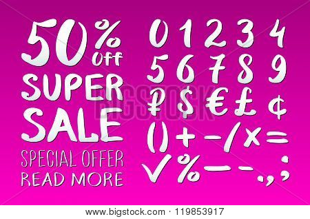 Numbers 0-9 Written With A Brush On A Pink Background Lettering. Super Sale. Big Sale. Sale Tag. Sal