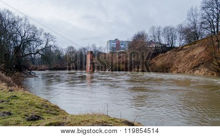 View from the Riverwalk in Chernyakhovsk Russia of the Angrapa River
