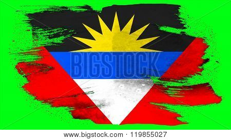 Antigua and Barbuda flag painted with brush on solid background, paint texture