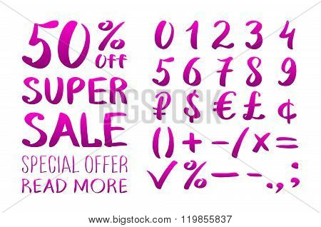 Numbers 0-9 Written With A Brush On A White Background Lettering. Super Sale. Big Sale. Sale Tag. Sa