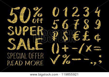Gold Glittering  Metal Alphabet - Numbers (figures), Currency Signs. Super Sale. Big Sale. Sale Tag.