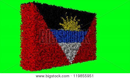Antigua and Barbuda flag made from leaves