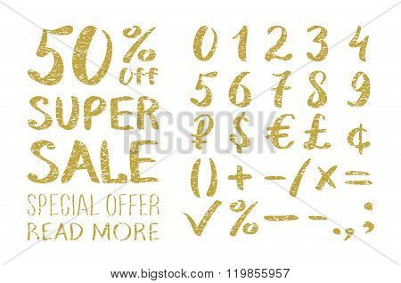 Gold Glittering Alphabet - Numbers (figures), Currency Signs. Super Sale. Big Sale. Sale Tag. Sale P