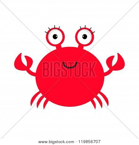 Crab Icon. Cute Cartoon Baby Character. Sea Ocean Animal Collection. Isolated. White Background. Fla