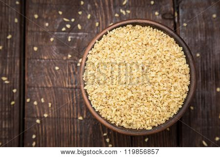 Couscous Groats On A Dark Background