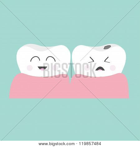 Tooth Gum Icon. Healthy Smiling Tooth. Crying Bad Ill Tooth With Caries. Cute Character Set. Oral De