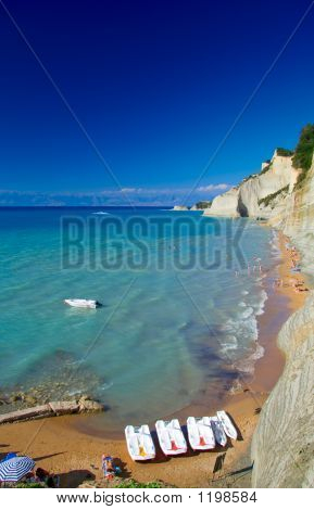 View Of A Beach On Corfu Island