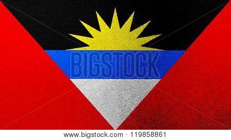Antigua and Barbuda flag painted on glass