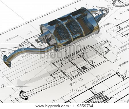 Car exhaust silencer on the drawing background