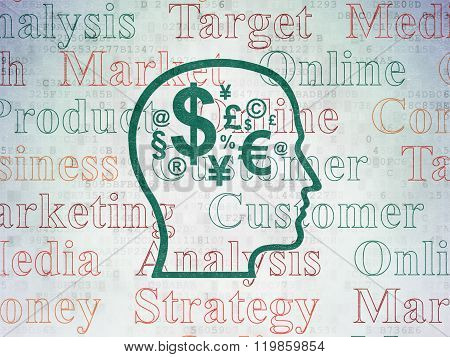 Advertising concept: Head With Finance Symbol on Digital Paper background