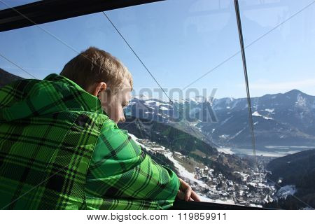 Man Inside The Cabin. Cable Car In Zell Am See, Skiing Resort In North Tirol, Austria.