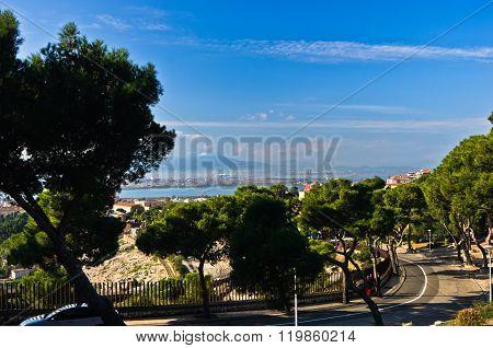 Viewpoint above old roman amphitheater in Cagliari, Sardinia