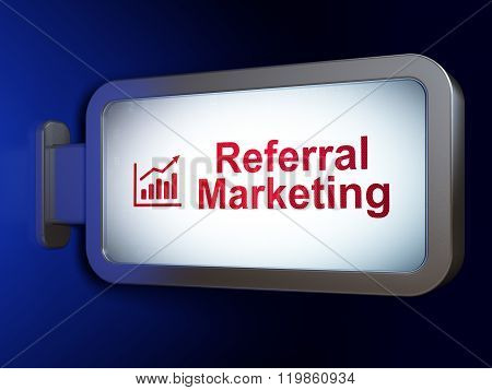 Advertising concept: Referral Marketing and Growth Graph on billboard background