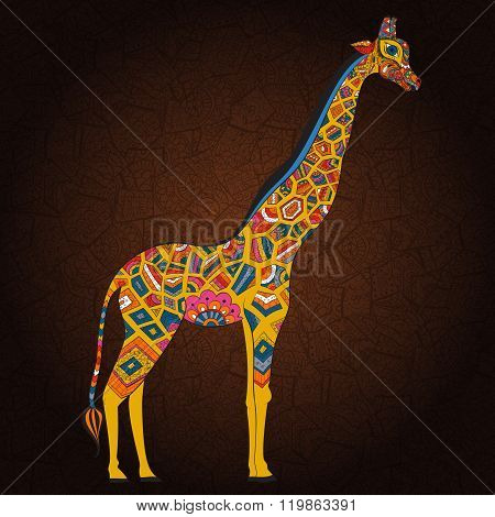 Beautiful adult Giraffe in boho. Hand drawn Illustration of ornamental giraffe. Colored giraffe on o