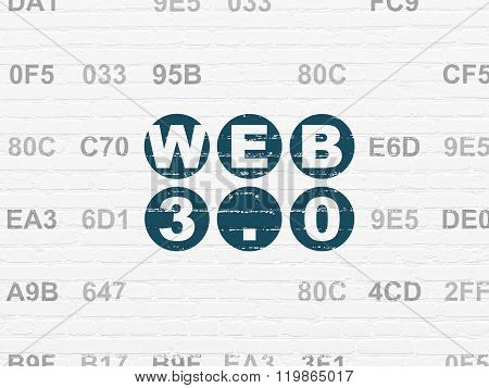 Web design concept: Web 3.0 on wall background