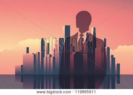 Double exposure business concept vector background. Businessman in front of modern corporate city sk