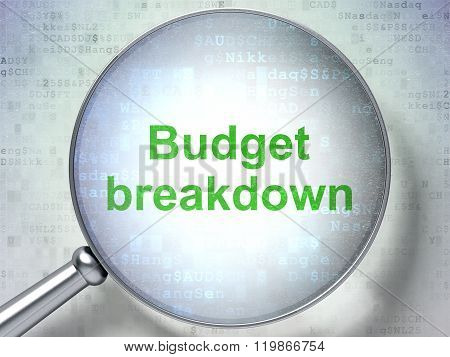 Business concept: Budget Breakdown with optical glass