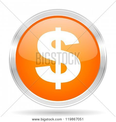 dollar orange silver metallic chrome web circle glossy icon