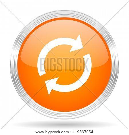 reload orange silver metallic chrome web circle glossy icon