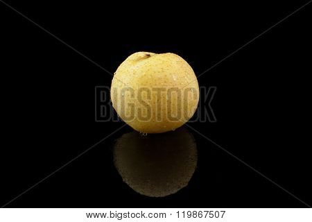Nashi Pear With Water On Black Background