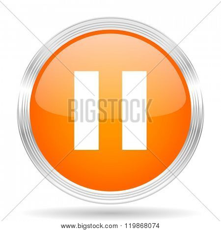 pause orange silver metallic chrome web circle glossy icon