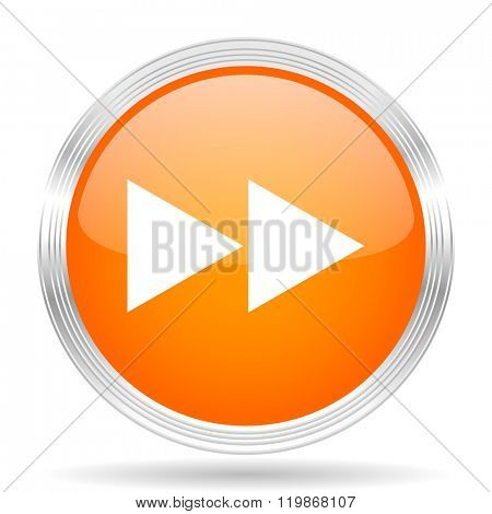 rewind orange silver metallic chrome web circle glossy icon