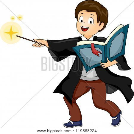 Illustration of a Boy performing as a Wizard while doing a Cast Spell