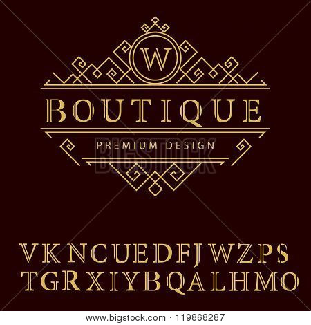 Monogram Design Elements, English Letters. Elegant Line Art Logo Design. Business Sign, letter W