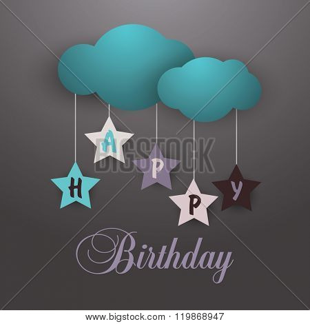happy birthday card  with cloud and stars