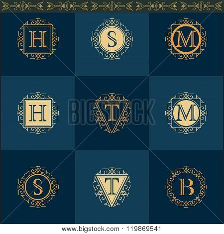 Monogram Design Elements, Graceful Template. Elegant Line Art Logo Design. Leter H, S, M, T, B