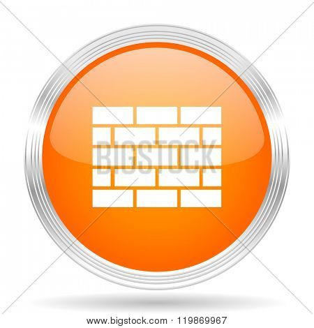 firewall orange silver metallic chrome web circle glossy icon