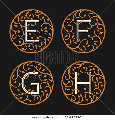Decorative Initial Letters E, F, G, H.