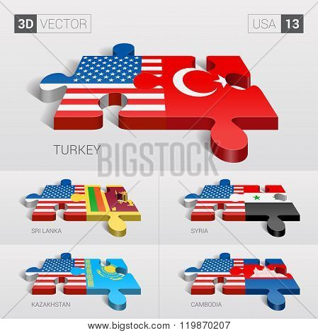 USA Flag. 3d vector puzzle. Set  .