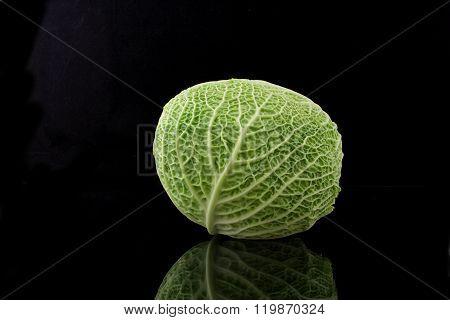 A Kale On Black Background