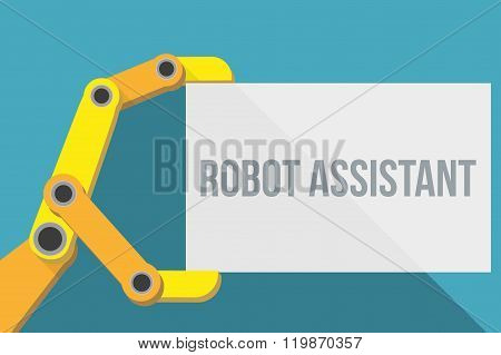 Robot hand holding blank sign with space for text.