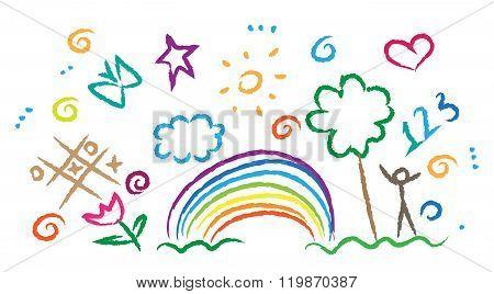children drawing multicolored symbols vector set