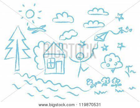 children drawin blue symbols vector set