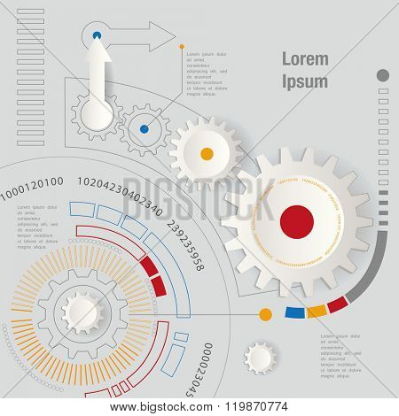 machine technology gears. retro gearwheel mechanism abstract background