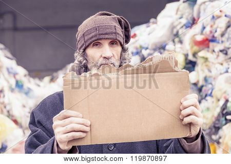 Homeless Show A Empty Cardboard
