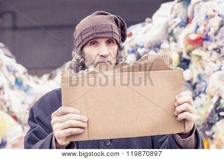 Homeless Show A Empty Cardboard