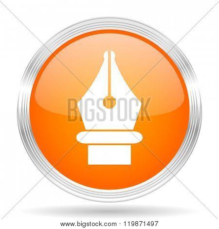 pen orange silver metallic chrome web circle glossy icon