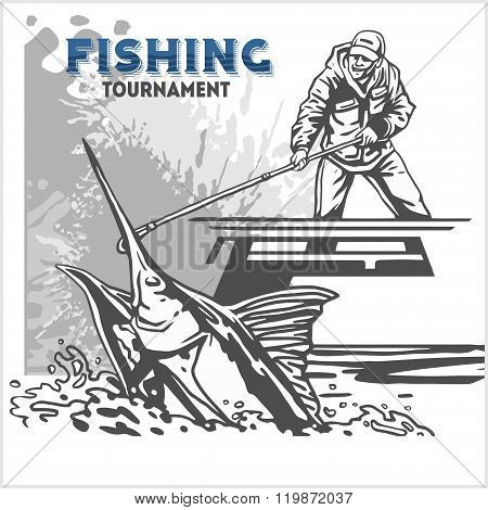 Marline fish in waves on retro grunge background - creation logo, emblem, fishing clubs