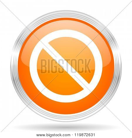 access denied orange silver metallic chrome web circle glossy icon