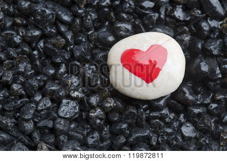 Red Heart On White Stone