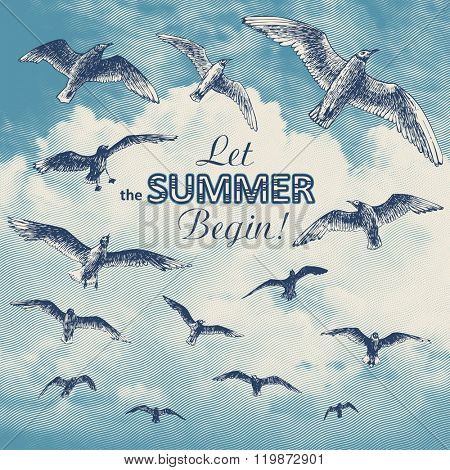 Let the summer begin! poster with seagulls, vector illustration