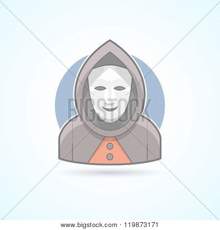 Anonym, stranger, maskman, mysterious man icon. Avatar and person illustration. Flat colored outline