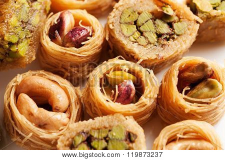 Oriental Sweets With Nuts In Assortment Close-up Macro