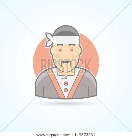 Japanese and asian cook, sushi master, traditional cuisine icon. Avatar and person illustration. Fla